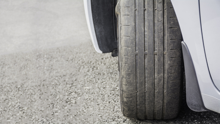Worn Out and Damaged Car Tire