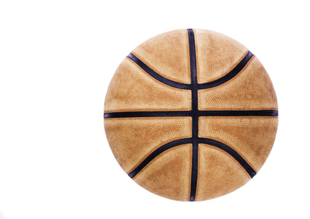 Basketball ball isolated on white - Top view on isolated basketball - Old used basketball ball cut out background