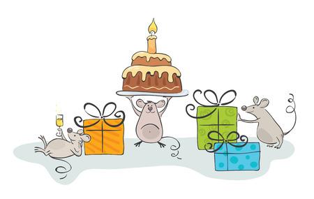 velas de cumpleaños: celebrar el ratón  Vectores