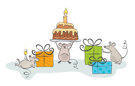 birthday cartoon: mouse celebrate