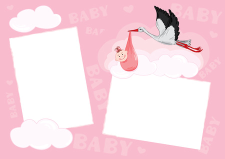 scrap booking: Template - photo frame for baby (girl) Illustration