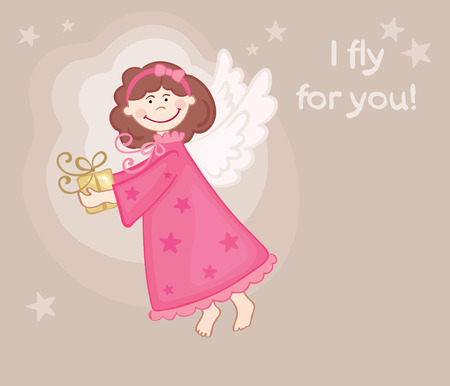 Postcard with an angel Vector