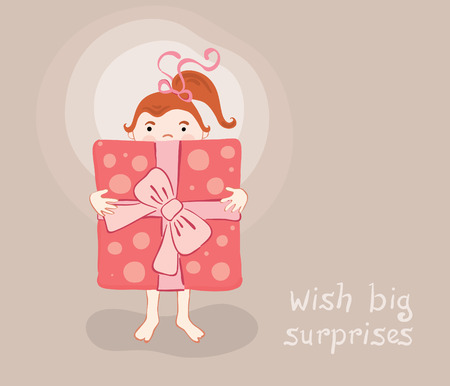 little girl with a great gift Stock Vector - 7270844