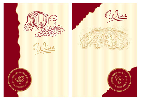 Wine labels with the barrel and the vineyard