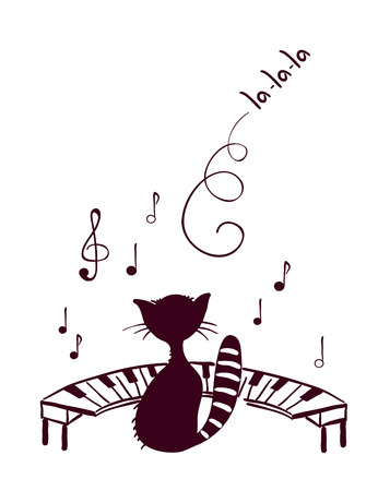 Music cat sings