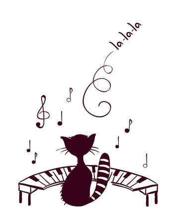 Music cat sings Vector Illustration