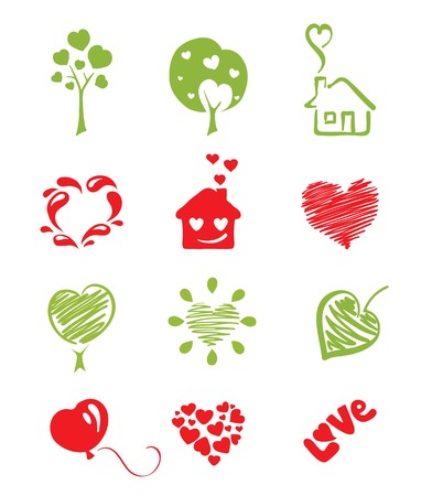 passion ecology: set icon objects hearts