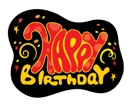 inscription:  inscription - birthday on a black background Illustration