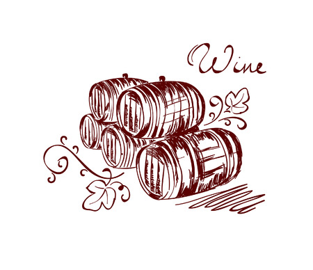 wine barrels Illustration