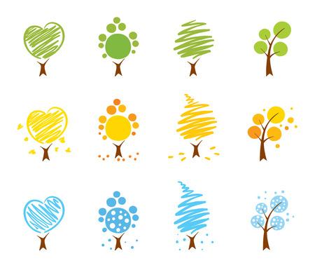 Arbres icône définie (hiver, été, automne)