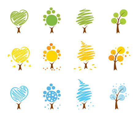 Trees Icon set (summer, winter, autumn)  Illustration