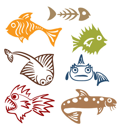 A set of abstract fish  Иллюстрация