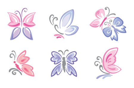 butterfly background: Collection of delicate butterflies  Illustration