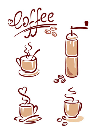 coffee mill: Coffee set  Illustration