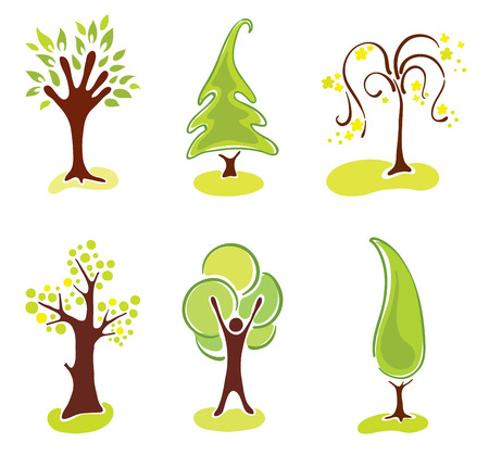 Set abstract trees  Stock Vector - 7879332