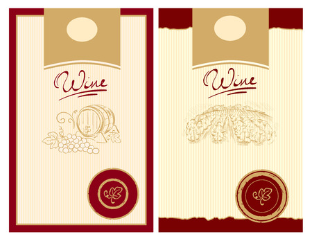 Wijn etiketten met stempel  Vector Illustratie