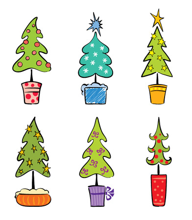 Set object -- Christmas trees Stock Vector - 8100174