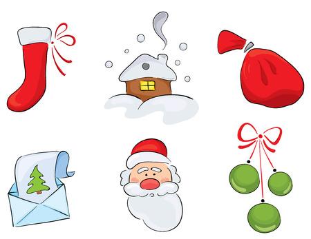 Set of watercolor Christmas drawings Stock Vector - 8160547
