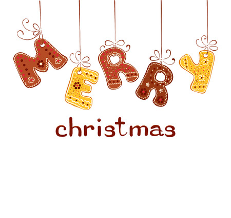 congratulations sign: Gingerbread inscription - Merry Christmas