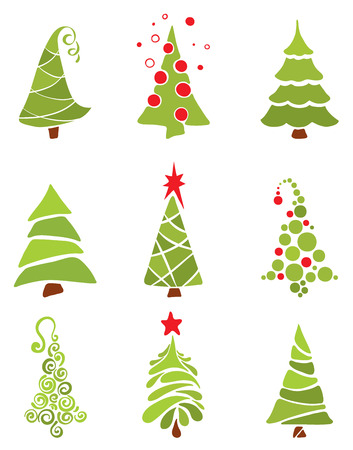 christmas tree set: A collection of modern trees