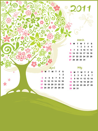 Calendar - Spring  Vector