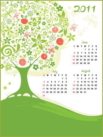 Calendar - Summer Stock Vector - 8307069