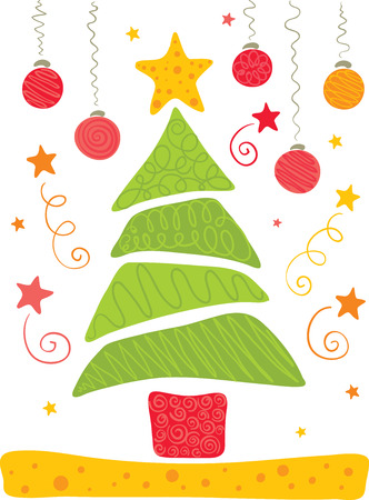 Bright and cheerful Christmas tree Stock Vector - 8396697