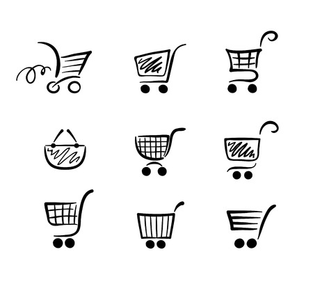 shopping cart icon: Сollection of funny carts