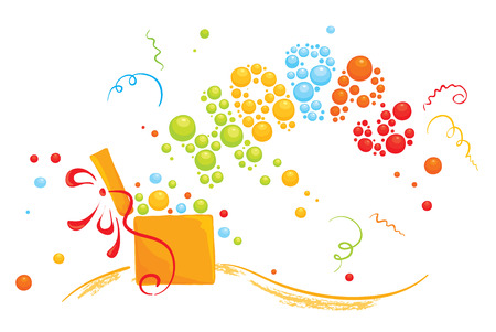 party poppers: With a surprise gift  Illustration