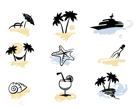 A set of icons - beach vacation  Stock Vector - 9370527