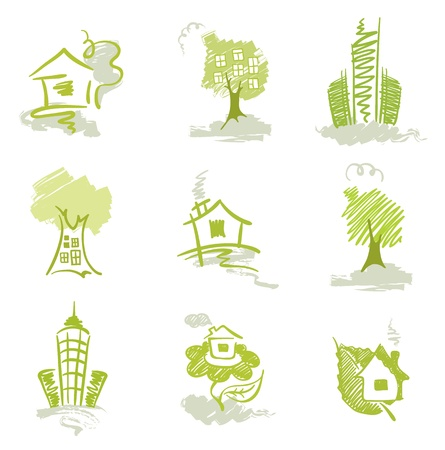 Collection of abstract images - homes Stock Vector - 9370528