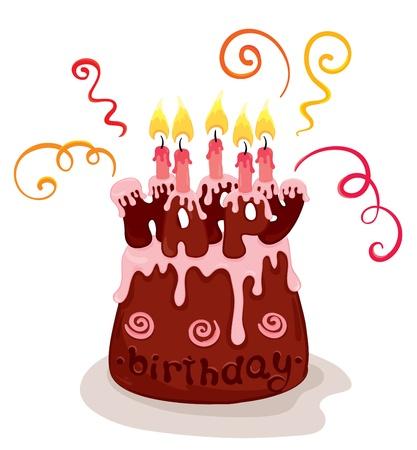 Chocolate birthday cake  Vector