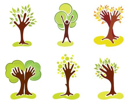 manos logo: Un conjunto de �rboles de mano abstractos