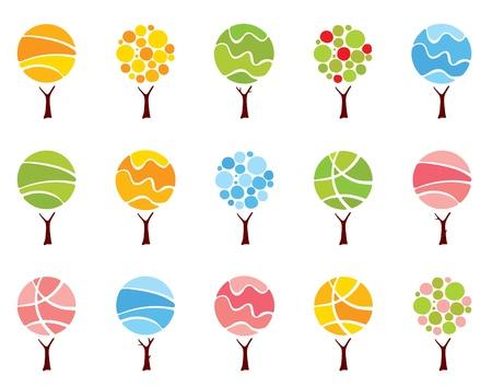 Impostare astratta alberi - stagioni