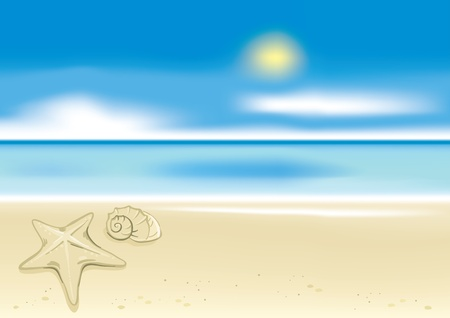 Beach background with a starfish  Stock Vector - 10064091