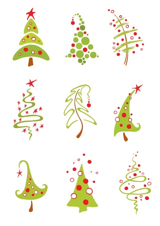 A collection of modern christmas trees Stock Vector - 10064087