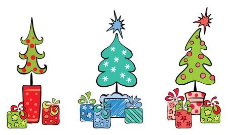 Definir objeto, árboles de Navidad con regalos  Vectores