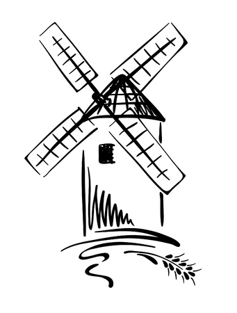 flour mill: Graphic Illustration - windmill