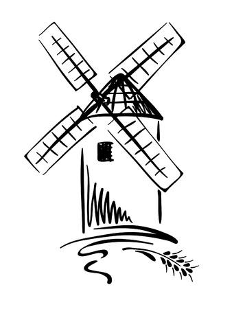 MOLINOS DE VIENTO: Ilustración gráfica - molino de viento  Vectores