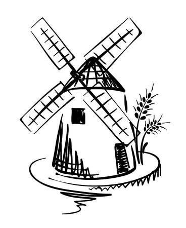 MOLINOS DE VIENTO: Ilustración gráfica - molino  Vectores