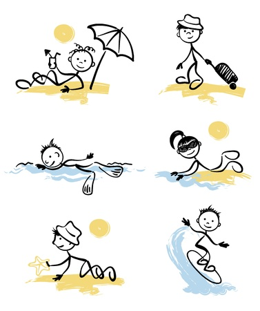 Funny little men on the beach  Vector