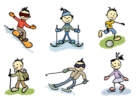 Colored funny little men in sports  Vector