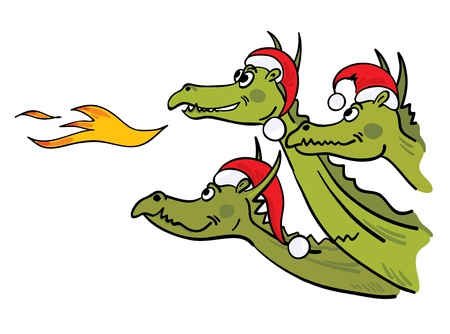 Christmas dragons  Vector