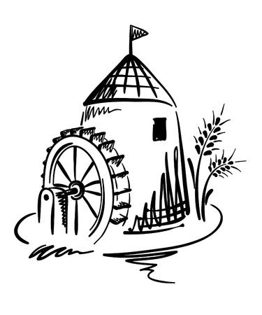 Grafico illustrazione - mulino ad acqua