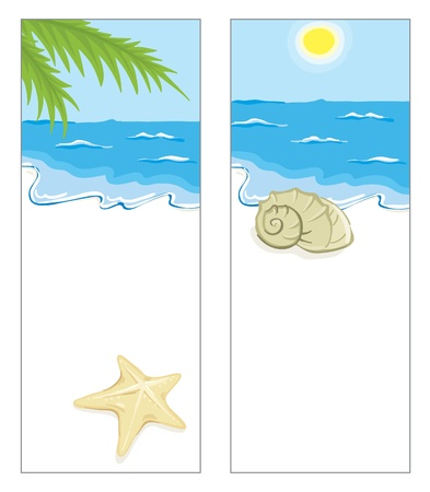 on the shore: Two background with a beach scenery