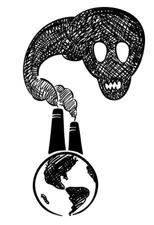 polluted: Mortal danger to the planet  Illustration