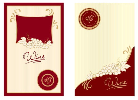 Wine labels with swirls  Vector
