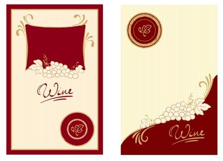 barrels set: Wine labels with swirls
