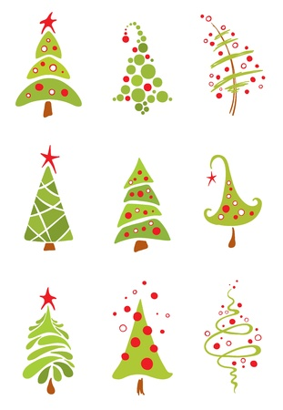 Set of funny christmas trees Illustration