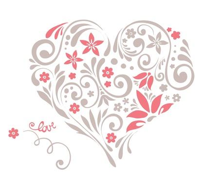 hart bloem: Floral hart met wervelingen